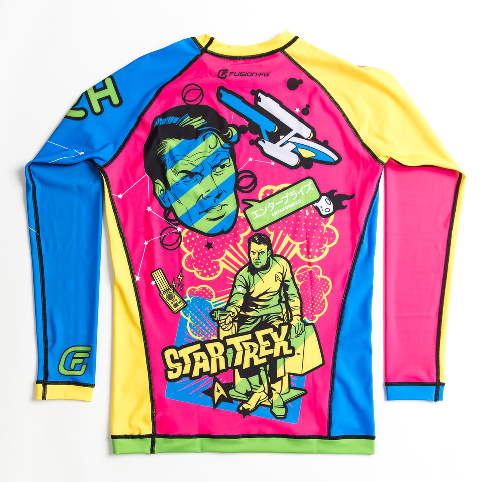 Fusion FG Star Trek Tokyo Invasion Rashguard now available at www.thejiujitsushop.com inspired by japanese pop culture from the 1970s.  Roll in style today!  Enjoy Free Shipping from The Jiu Jitsu Shop.