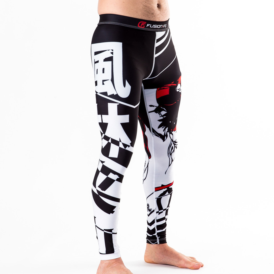 Right leg of street fighter spats with more japanese words  available at www.thejiujitsushop.com