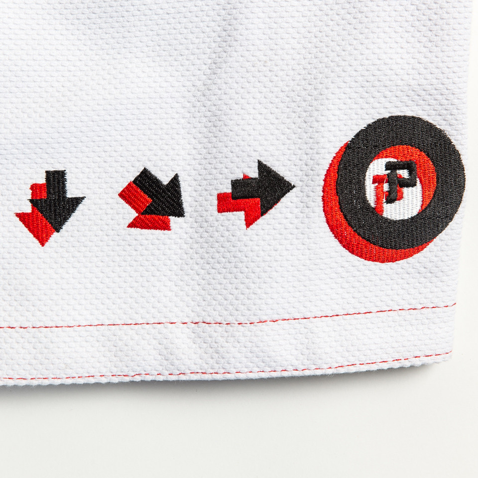 Ryu Kimono Street Fighter Gi with the code on how to do a hadoken.  Available at www.thejiujitsushop.com  Enjoy Free Shipping today from The Jiu Jitsu Shop
