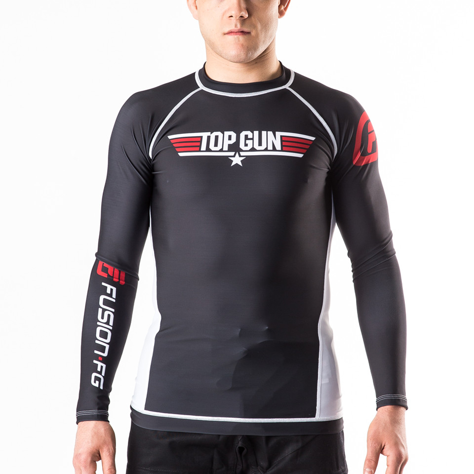 Fusion FG Top Gun Classic Rashguard Black available at www.thejiujitsushop.com.  Amazing one of a kind top gun rashguard.  Fully licensed gear from Top Gun  Free Shipping with The Jiu Jitsu Shop.  Also available in Navy.