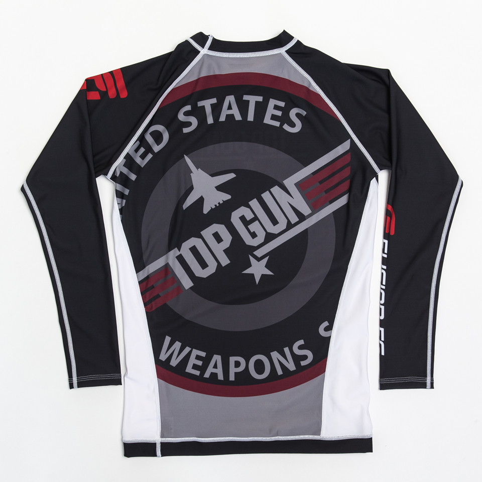"Back of Fusion FG Top Gun Classic Rashguard Black available at www.thejiujitsushop.com.  Back of rashguard reads "" United States Top Gun Weapons""  Free Shipping with The Jiu Jitsu Shop.  Also available in Navy."