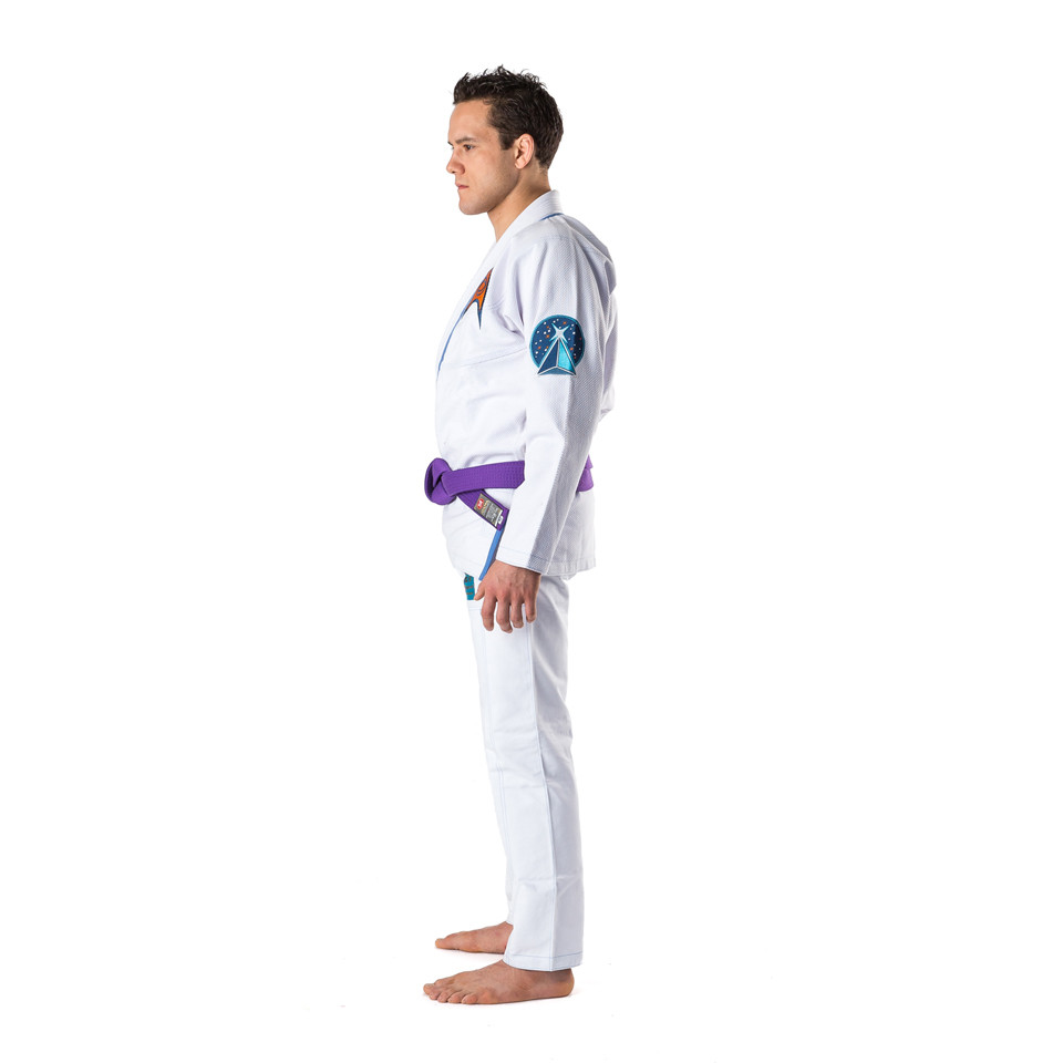 Side view of the Fusion Star Trek Spock Gi available at www.thejiujitsushop.com.  Unique Star trek officially licensed Gi.    Enjoy Free Shipping from The Jiu Jitsu Shop