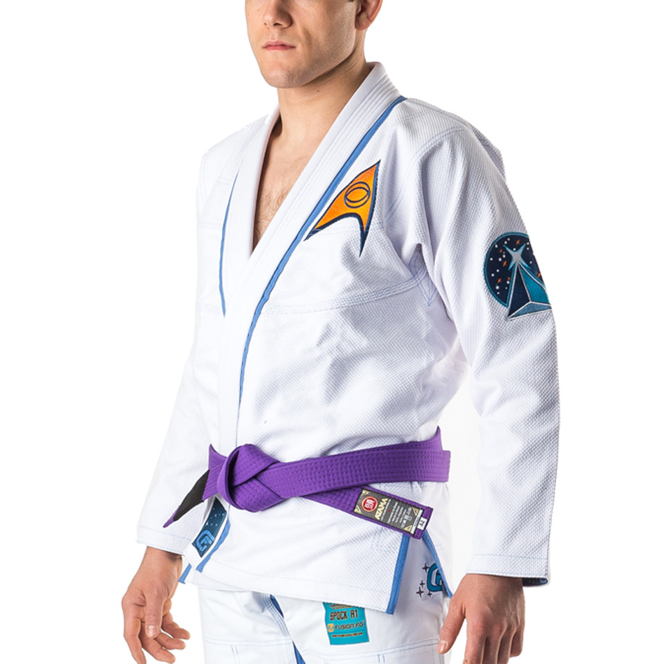 Zoomed in to left side of gi. Fusion Star Trek Spock Gi available at www.thejiujitsushop.com.  Unique Star trek officially licensed Gi.    Enjoy Free Shipping from The Jiu Jitsu Shop