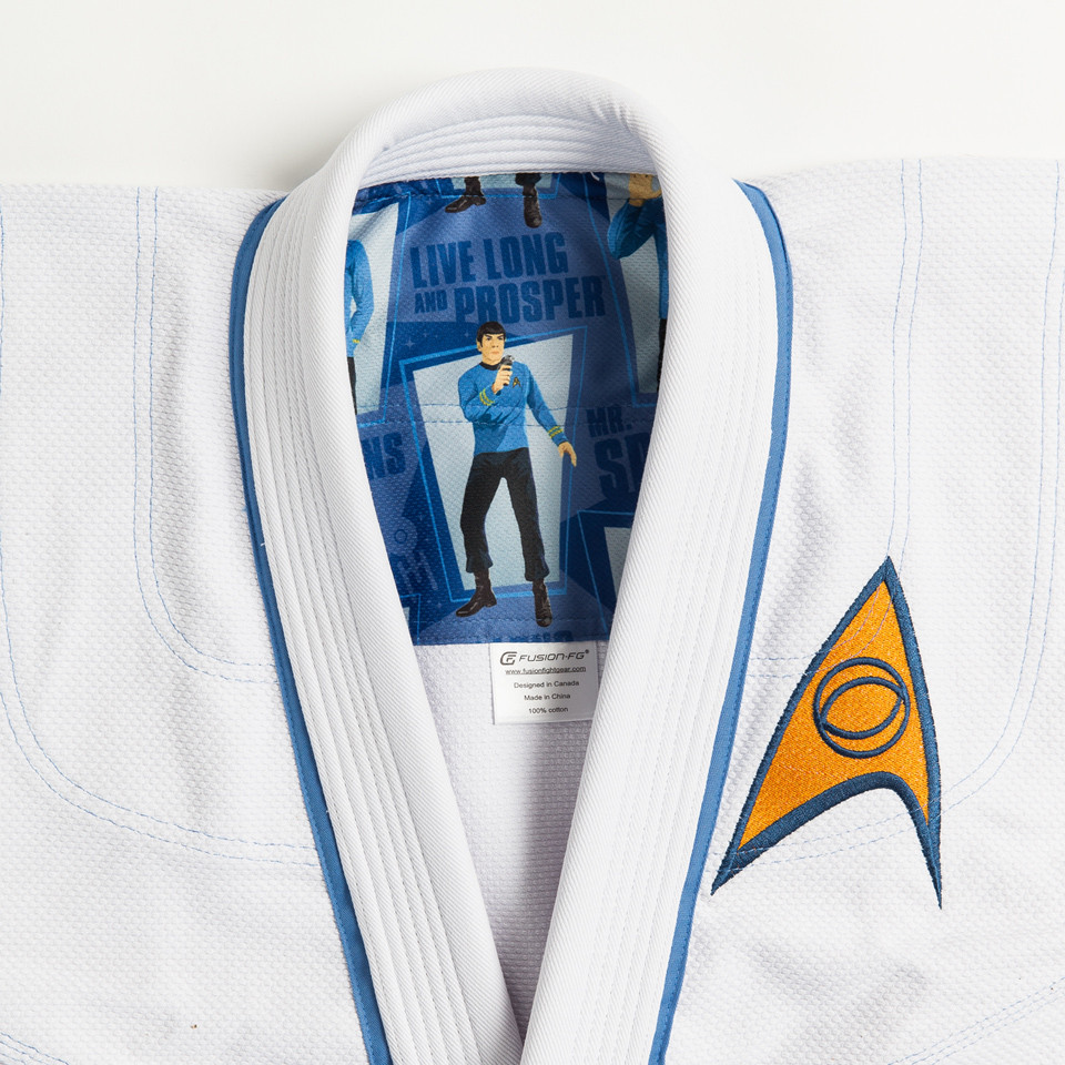 Inner rashguard of Fusion Star Trek Spock Gi available at www.thejiujitsushop.com.  Unique Star trek officially licensed Gi.    Enjoy Free Shipping from The Jiu Jitsu Shop