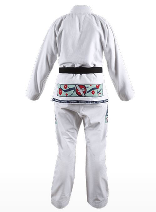 Back of the Hayabusa Shinju Female Kimono in White which is now available at www.thejiujitsushop.com.  Best Female BJJ Gi on the market toady.   Enjoy Free Shipping from The Jiu Jitsu Shop today!