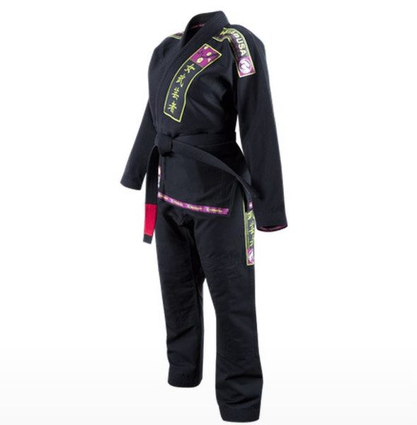 Hayabusa Shinju Pearl Weave Female BJJ Gi in Black Available at www.thejiujitsushop.com Perfect fit for women specifically designed for your body.  Black purple and green never looked so good.  Enjoy Free Shipping from The Jiu Jitsu Shop today! Hayabusa Female Gi now in stock