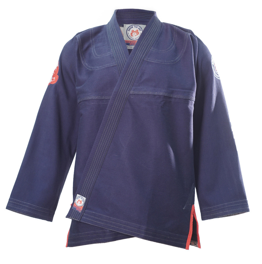 Inverted Gear X Show The Art Collaboration Gi. Navy, red, and white Kimono.  Now available at www.thejiujitsushop.com 550 GSM Kimono  Enjoy Free Shipping from The Jiu Jitsu Shop today.  One stop BJJ Pro Shop.