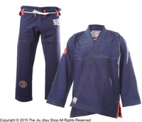 Inverted Gear X Show The Art Collaboration Gi. Navy, red, and white Kimono.  Now available at www.thejiujitsushop.com   Enjoy Free Shipping from The Jiu Jitsu Shop today.  One stop BJJ Pro Shop.