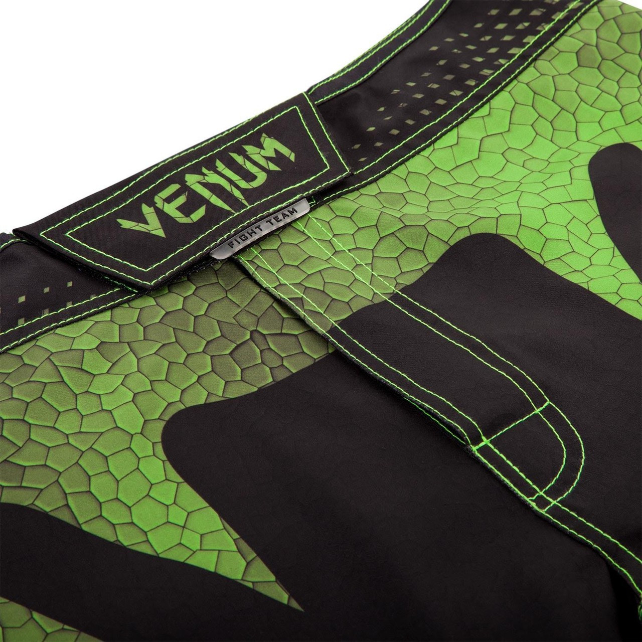 Zoom into crotch and vault closure system of the Venum Hurricane Fightshorts Amazonia Green MMA Shorts now available at www.thejiujitsushop.com  Top MMA and Grappling Shorts  Enjoy Free Shipping from The Jiu Jitsu Shop today!