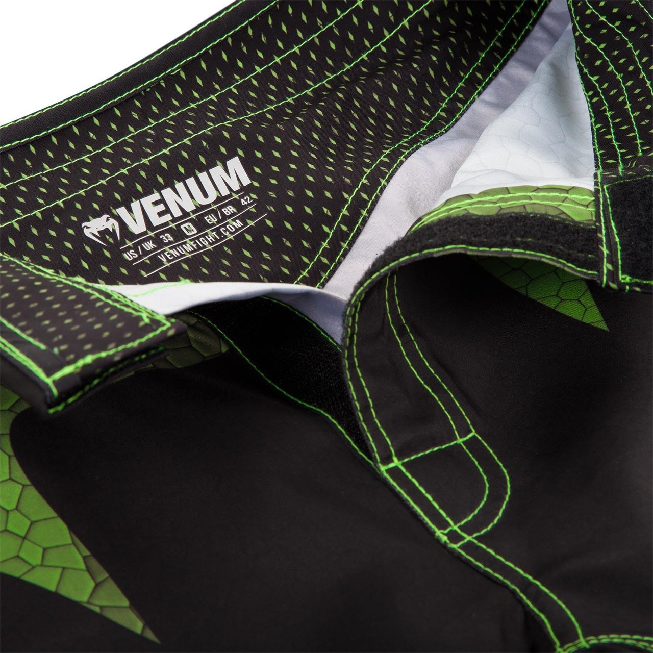 Closure system of the new Venum Hurricane Fightshorts Amazonia Green MMA Shorts now available at www.thejiujitsushop.com  Top MMA and Grappling Shorts  Enjoy Free Shipping from The Jiu Jitsu Shop today!