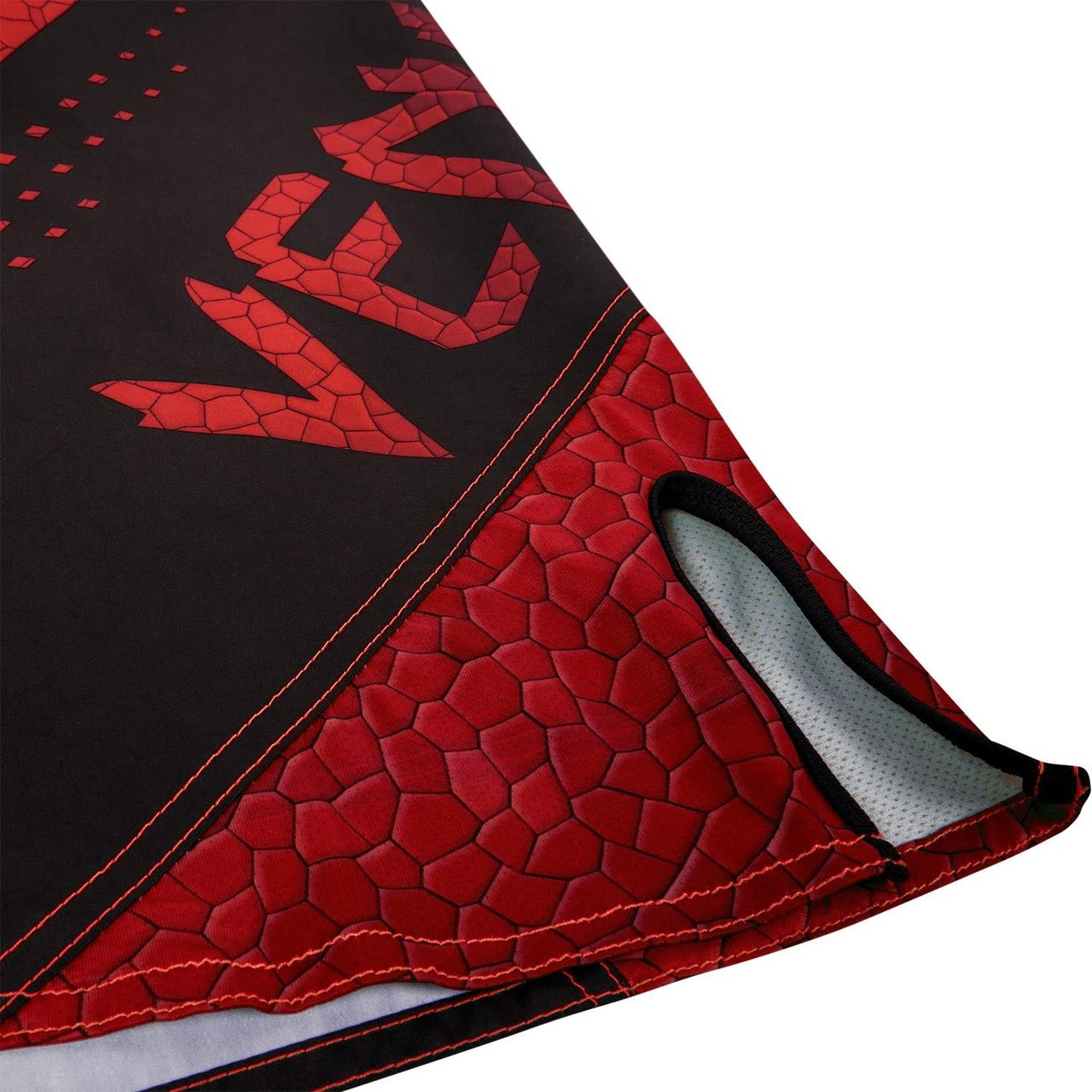 side slit zoom Venum Hurricane Fightshorts Amazonia Red MMA Shorts now available at www.thejiujitsushop.com  Top MMA and Grappling Shorts  Enjoy Free Shipping from The Jiu Jitsu Shop today!