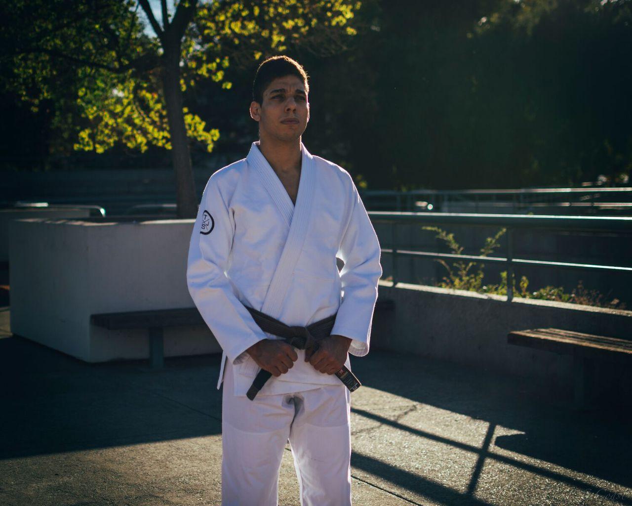 Pedro Silva The Jiu Jitsu Shop Minimalist Kimono Photoshoot.  Available at www.thejiujitsushop.com Front of the Gi  TJJS White Minimalist Kimono