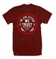 Newaza Apparel In Jiu Jitsu We Trust Red on Maroon.  From the Red October Collection.  Available at www.thejiujitsushop.com  Enjoy Free Shipping from The Jiu JItsu Shop today!