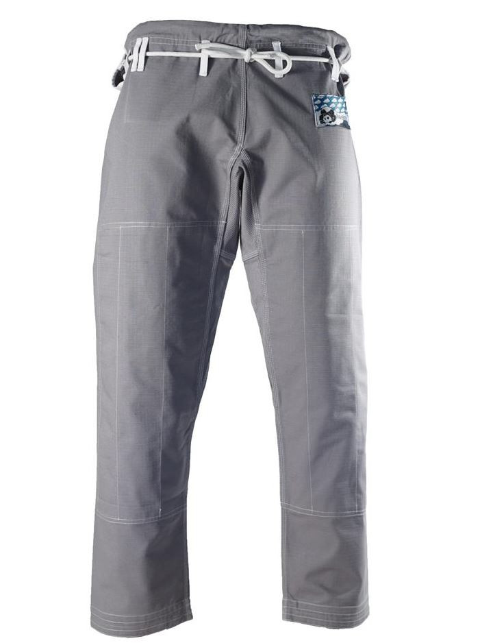 Inverted gera light pearl grey jiu jitsu pants.  Great light blue accents.  Available at www.thejiujitsushop.com while supplies last.   Free Shipping at The Jiu Jitsu Shop