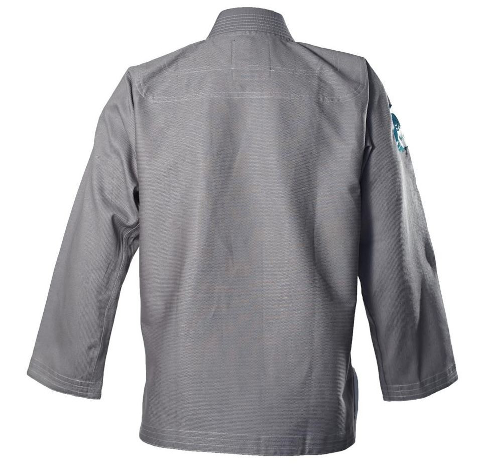 Back of the Inverted Gear Light Pearl Grey Jiu Jitsu Gi.  Available at www.thejiujitsushop.com While supplies last.  Sold out quickly last time!   Do not wait.  Grab a new Inverted gear gi in grey today! Comfortable, durable, and light!  Free Shipping from The Jiu Jitsu Shop.