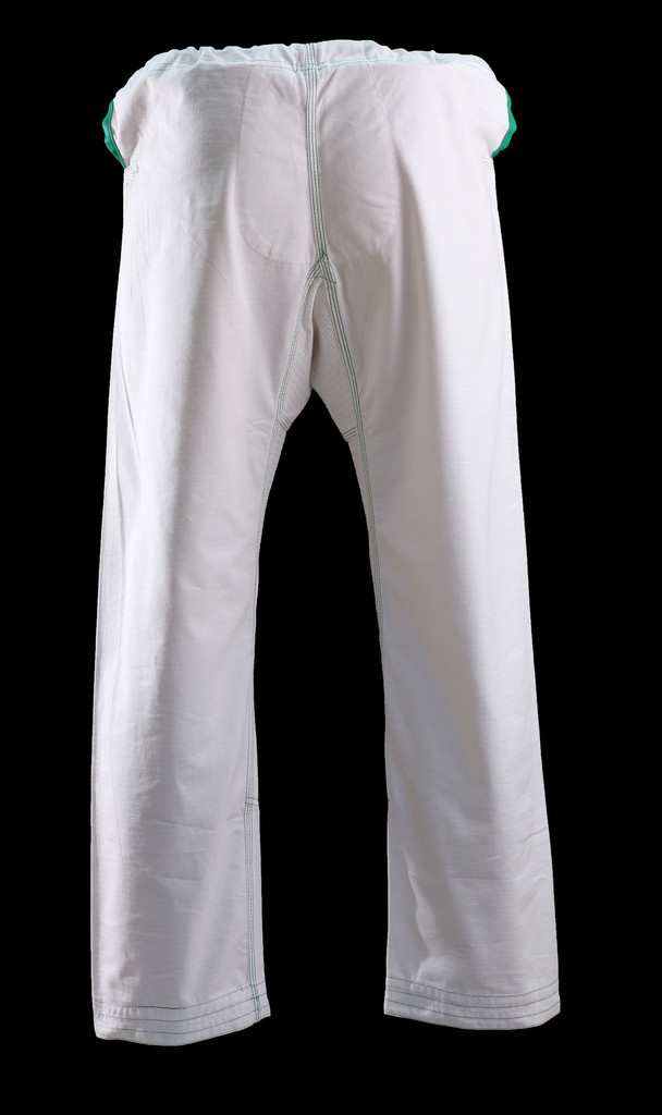 Back of the Inverted Gear White Gold Weave Panda Gi pants available at www.thejiujitsushop.com.  Comfortable light and durable Jiu Jitsu Gi from our panda nation friends at inverted gear.   Enjoy Free Shipping from The Jiu Jitsu Shop today!