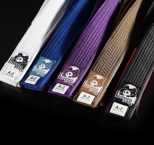 Inverted Gear Belts White, blue, purple, brown, black available at www.thejiujitsushop.com   Enjoy Free Shipping from The Jiu Jitsu Shop today!
