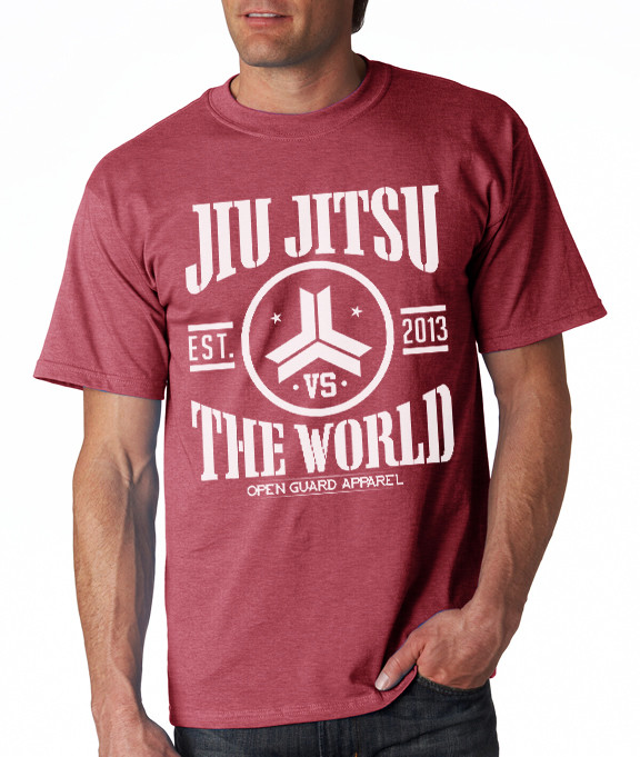 OGA Jiu Jitsu VS The World Cardinal Heather T-Shirt.  Available at www.thejiujitsushop.com  Open Guard Apparel