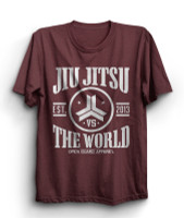 OGA Jiu Jitsu vs The World Cardinal Heather T-Shirt.  Available at www.thejiujitsushop.com  Open Guard Apparel free shipping from The Jiu Jitsu Shop.