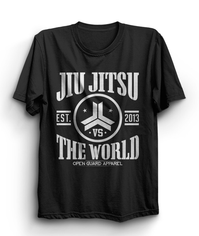 OGA Jiu Jitsu vs The World Black Tshirt Heather T-Shirt.  Available at www.thejiujitsushop.com  Open Guard Apparel free shipping from The Jiu Jitsu Shop.