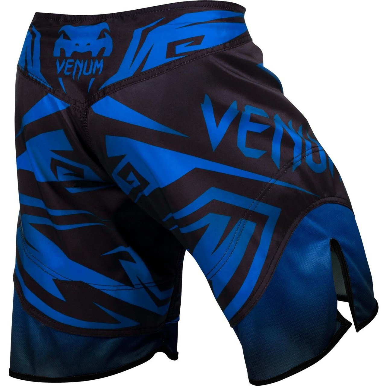 Back view of the Venum Shadow Hunter Fight Short in Blue and Black.  Available at www.thejiujitsushop.com.  Premium fight shorts shadow hunter  enjoy Free Shipping from The Jiu Jitsu Shop