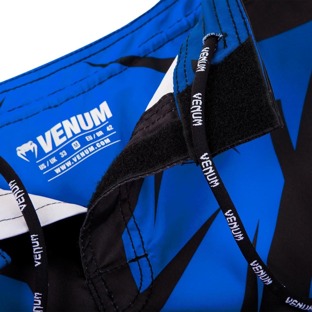 Zoom into vault closure of  Venum Shadow Hunter Fight Short in Blue and Black.  Available at www.thejiujitsushop.com.  Premium fight shorts shadow hunter  enjoy Free Shipping from The Jiu Jitsu Shop