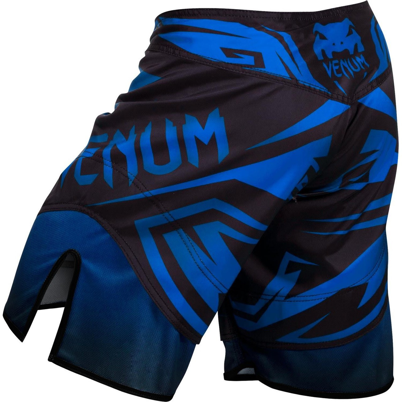 Back of the Venum Shadow Hunter Fight Short in Blue and Black.  Available at www.thejiujitsushop.com.  Premium fight shorts shadow hunter  enjoy Free Shipping from The Jiu Jitsu Shop