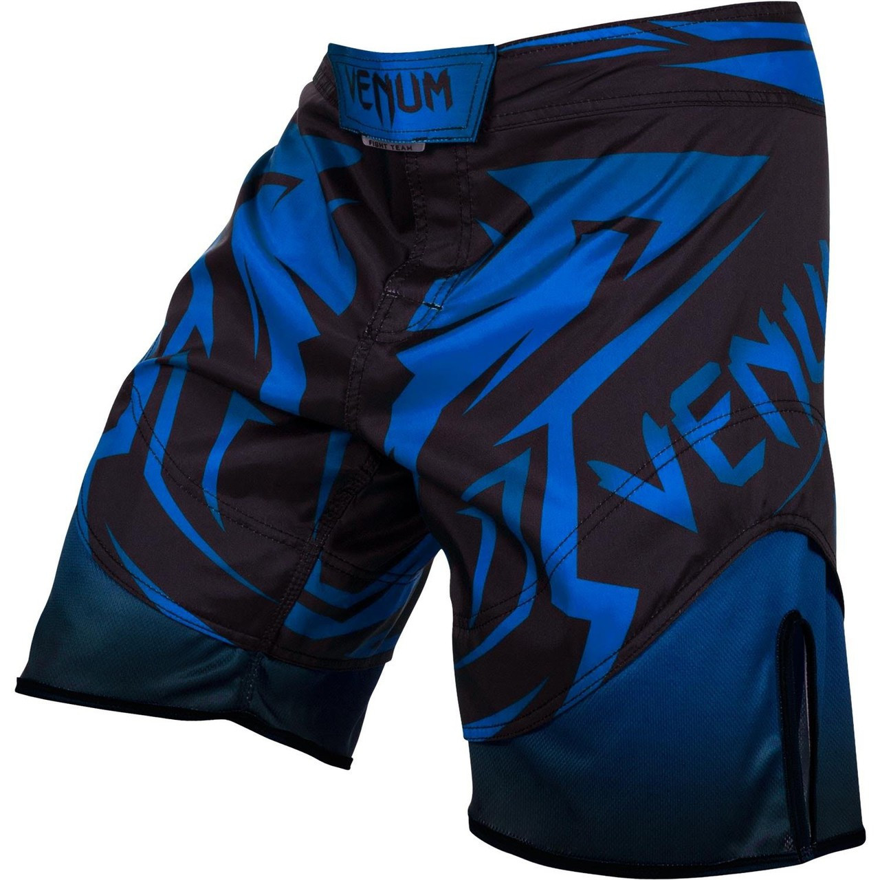 Front of the  Venum Shadow Hunter Fight Short in Blue and Black.  Available at www.thejiujitsushop.com.  Premium fight shorts shadow hunter  enjoy Free Shipping from The Jiu Jitsu Shop