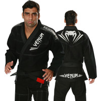 Venum Elite Jiu Jitsu Gi in black and Silver.  Now available at www.thejiujitsushop.com Front of gi is black with great Silver and white accents   Enjoy free shipping from The Jiu Jitsu Shop.  Top quality brazilian jiu-jitsu gear for men women and kids.