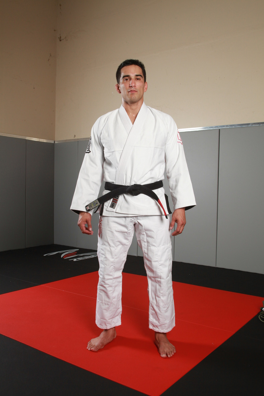 standing view of the 2016 White Gameness air white bjj gi.  Available at www.thejiujitsushop.com Gameness air kimono in white, blue, or black.   enjoy free shipping from The Jiu Jitsu Shop today!