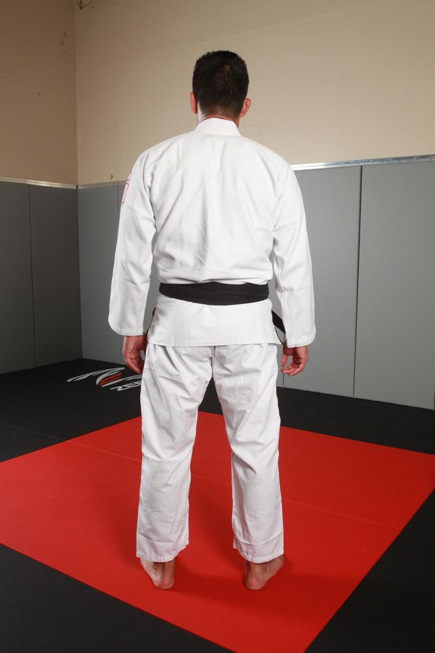 Back view of the 2016 White Gameness air white bjj gi.  Available at www.thejiujitsushop.com Gameness air kimono in white, blue, or black.   enjoy free shipping from The Jiu Jitsu Shop today!