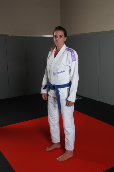 2015 Gameness Female Pearl Weave violet Gi.  Available in Pink or violet accents.  Sold at www.thejiujitsushop.com  Free Shipping on all gameness products from The Jiu Jitsu Shop.