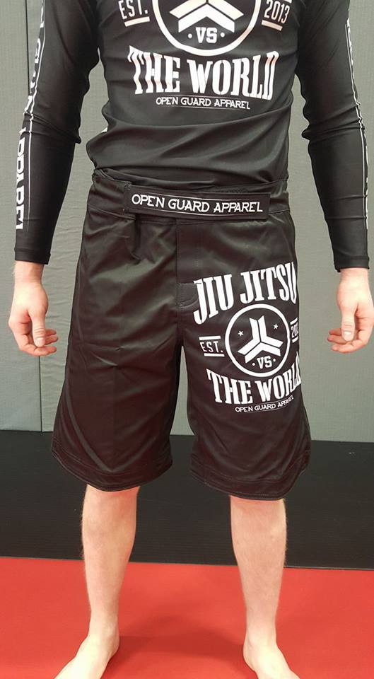 OGA Jiu Jitsu Vs The World Fight Shorts.  Great for BJJ and MMA.  Black and White Grappling Shorts from Open Guard Apparel.   Available with free Shipping from The Jiu Jitsu Shop.