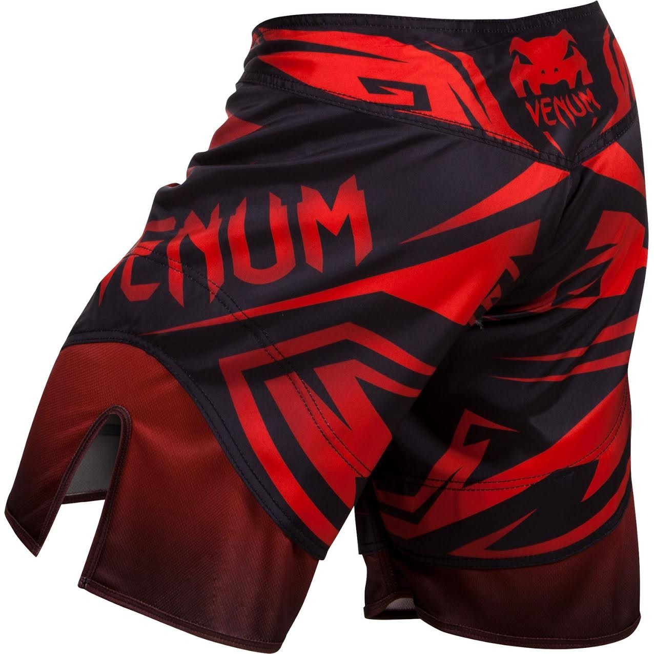 Back view of the Venum Shadow Hunter Fight Short in Red and Black.  Available at www.thejiujitsushop.com.  Premium fight shorts shadow hunter  enjoy Free Shipping from The Jiu Jitsu Shop