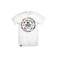 Newaza Apparel In Jiu Jitsu We Trust World T-Shirt White available at www.thejiujitsushop.com