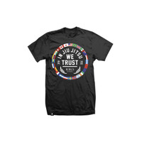 Newaza Apparel In Jiu Jitsu We Trust World T-Shirt Black available at www.thejiujitsushop.com