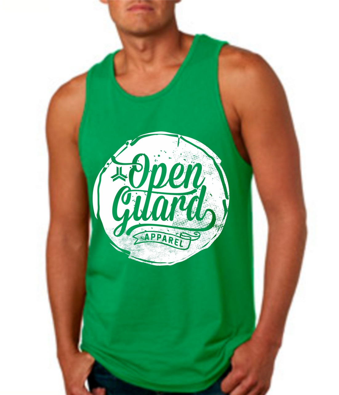 OGA Circle Flow Tank in Green and White Ink.  available at www.thejiujitsushop.com or www.openguardapparel.com