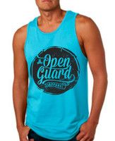 OGA Circle Flow Tank available in Tahiti blue and Black at www.thejiujitsushop.com or www.openguardapparel.com