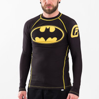 Fusion FG Batman Long sleeve Inverted logo rashguard.  Black and yellow.  Available at www.thejiujitsushop.com  Enjoy free shipping from The Jiu Jitsu Shop today.