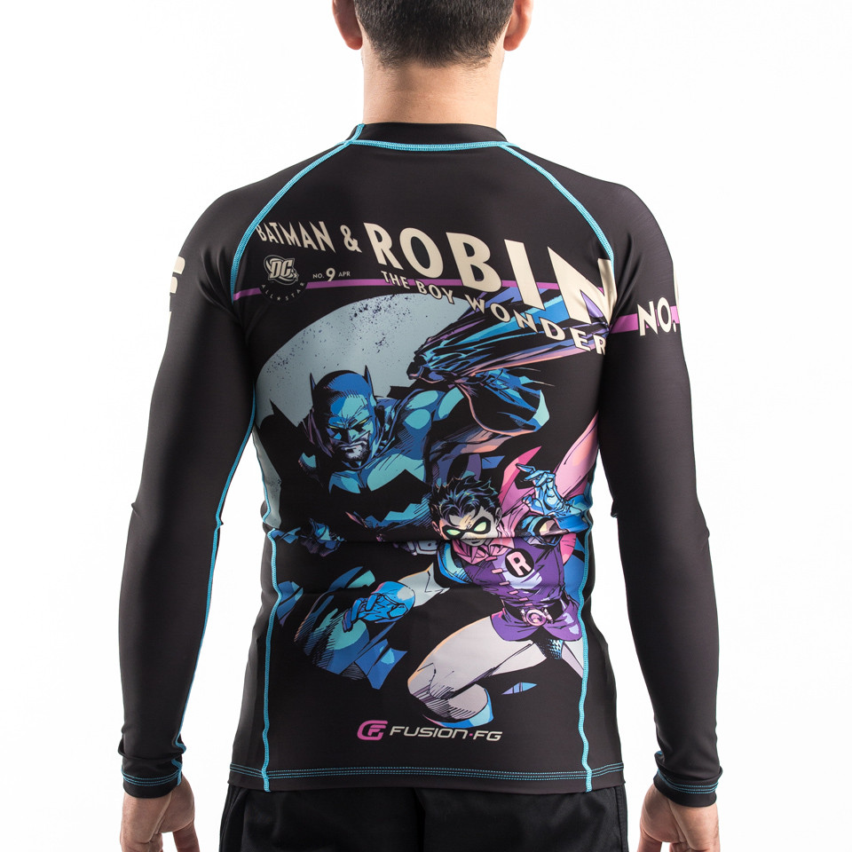 Back of the Fusion FG Batman and robin black rashguard available at www.thejiujitsushop.com   Free shipping on all products from The Jiu Jitsu Shop