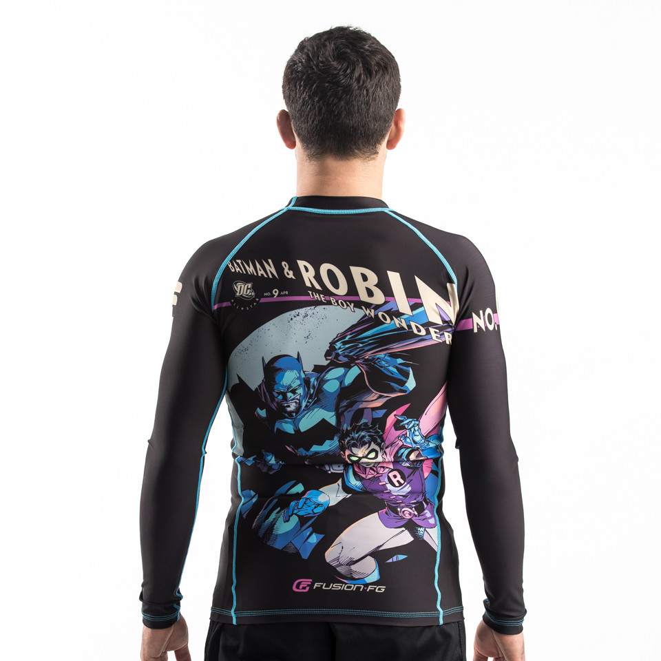 Zoomed out version of the Batman and robin bjj rashguard.   Fusion FG available at www.thejiujitsushop.com