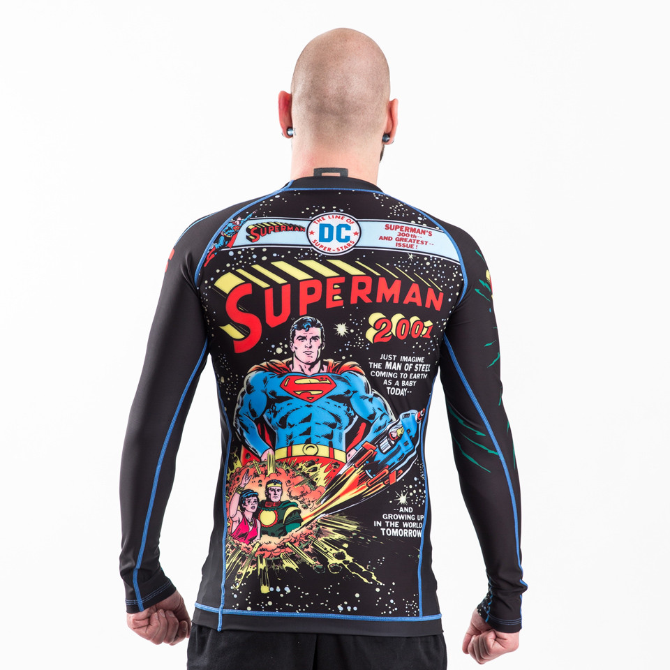 Back of the Fusion FG Superman 2001 Comic Cover longsleeve BJJ Rashguard available at www.thejiujitsushop.com  Enjoy Free Shipping from The Jiu Jitsu Shop.