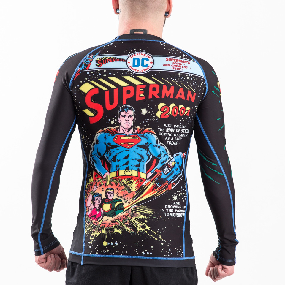 Back view of the Fusion FG Superman 2001 Comic Cover longsleeve BJJ Rashguard available at www.thejiujitsushop.com  Enjoy Free Shipping from The Jiu Jitsu Shop.