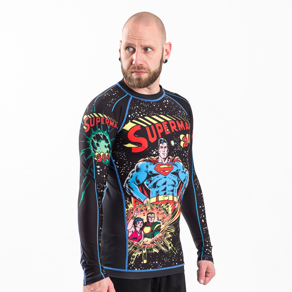 Fusion FG Superman 2001 Comic Cover longsleeve BJJ Rashguard available at www.thejiujitsushop.com  Enjoy Free Shipping from The Jiu Jitsu Shop.