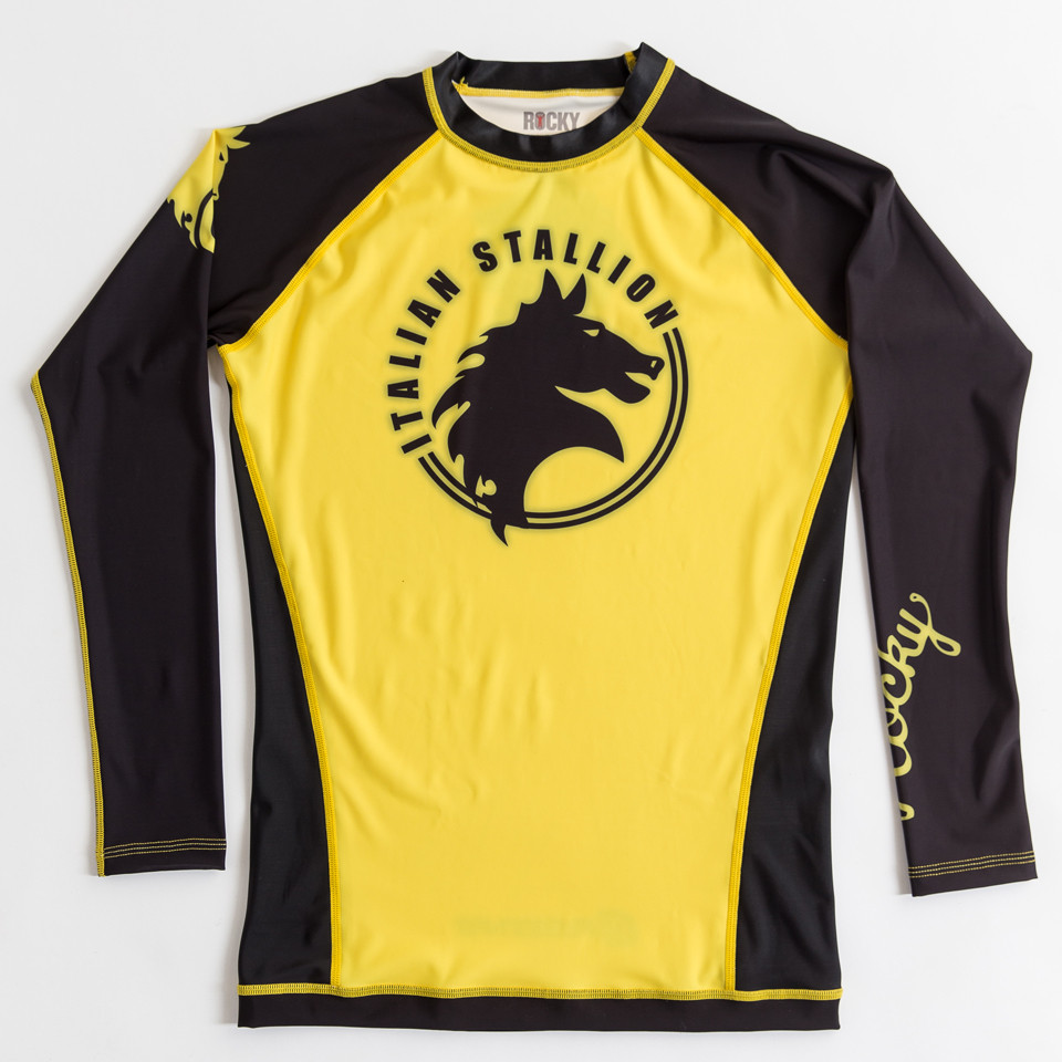 Fusion FG Rockly Italian Stallion BJJ Rashguard in Yellow and Black now available at www.thejiujitsushop.com  Enjoy Free Shipping from The Jiu Jitsu Shop today