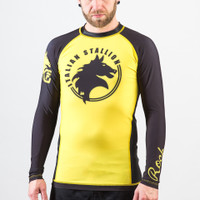 Fusion FG Rockly Italian Stallion BJJ Rashguard in Yellow and Black now available at www.thejiujitsushop.com  Enjoy Free Shipping from The Jiu Jitsu Shop today