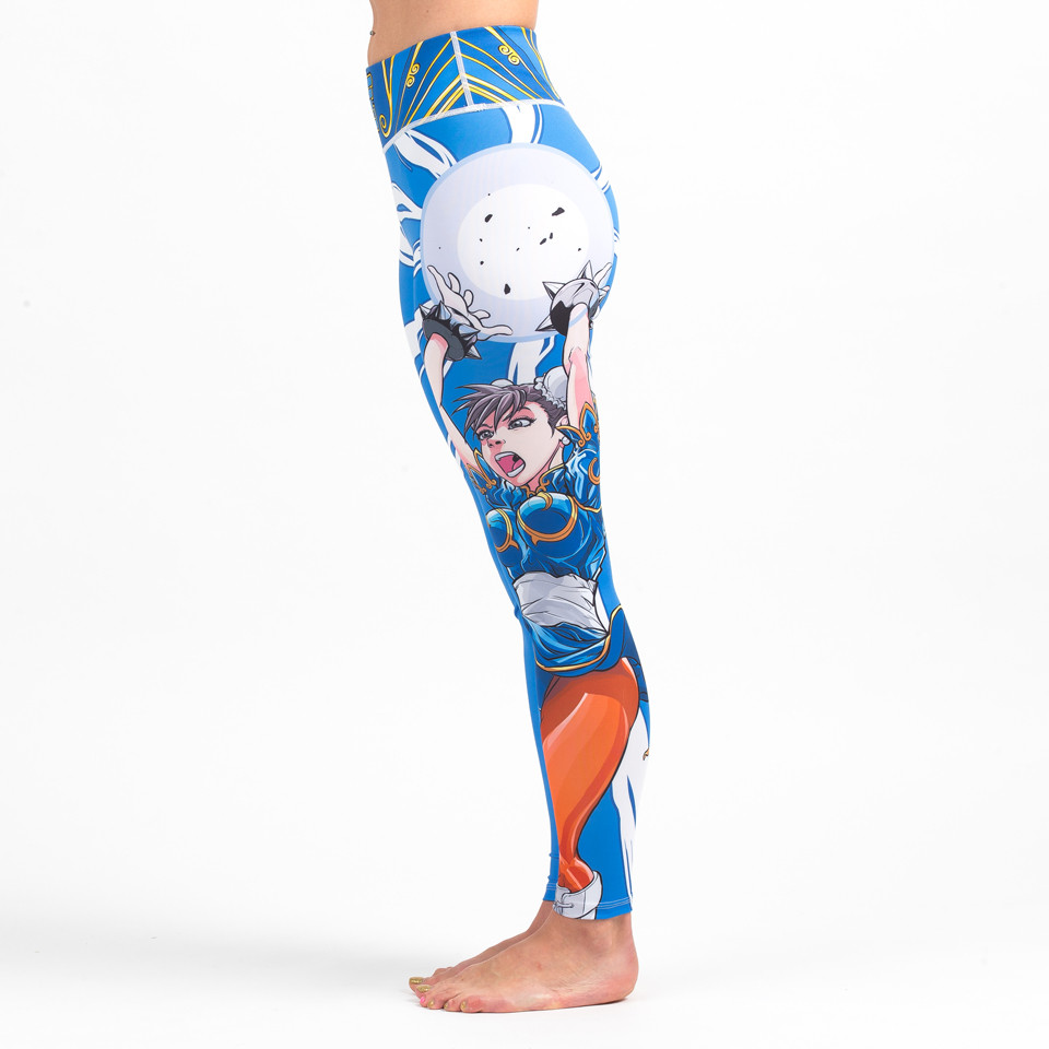Side view of the Street Fighter Chun Li Women's Spats available at www.thejiujitsushop.com  Enjoy Free Shipping on these Street fighter female tights for grappling and all around awesomeness.