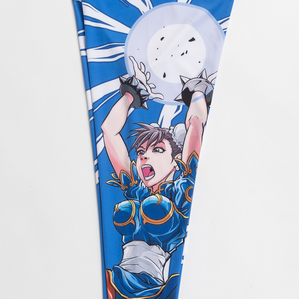 artwork of the Street Fighter Chun Li Women's Spats available at www.thejiujitsushop.com  Enjoy Free Shipping on these Street fighter female tights for grappling and all around awesomeness.