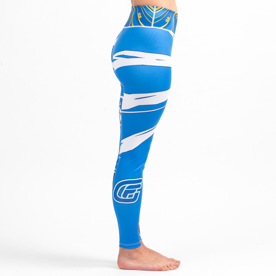 Right side view of the Street Fighter Chun Li Women's Spats available at www.thejiujitsushop.com  Enjoy Free Shipping on these Street fighter female tights for grappling and all around awesomeness.