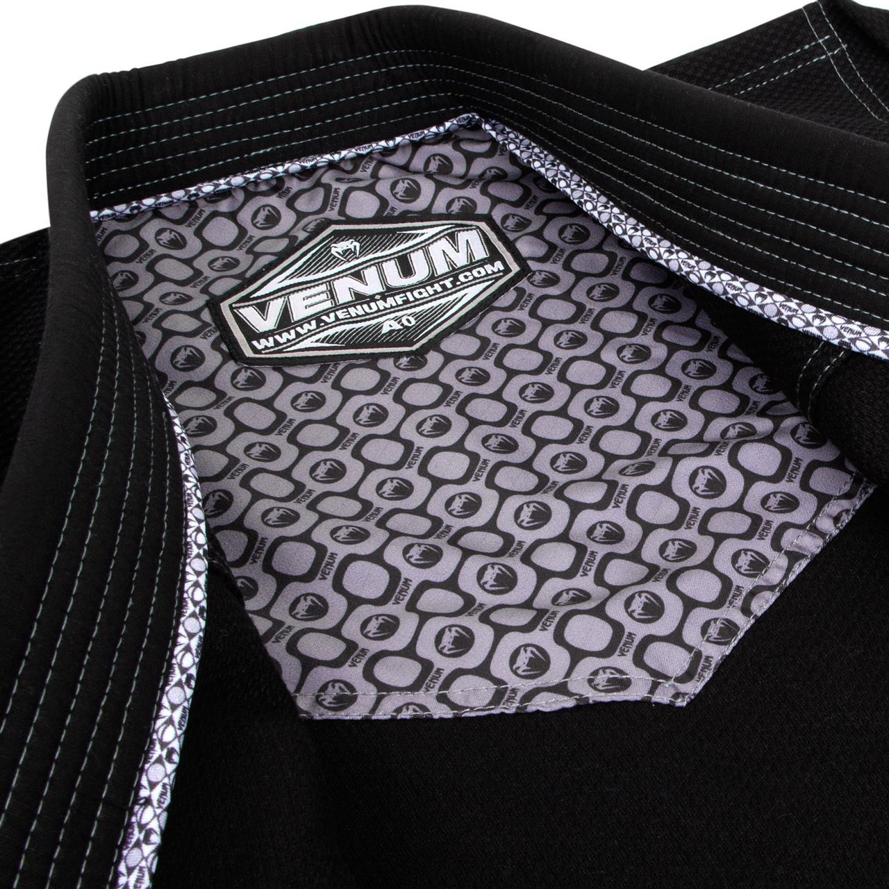Inside gi jacket of the Venum Elite Classic BJJ GI in Black is now available at www.thejiujitsushop.com  Enjoy Free Shipping from The Jiu Jitsu Shop today!